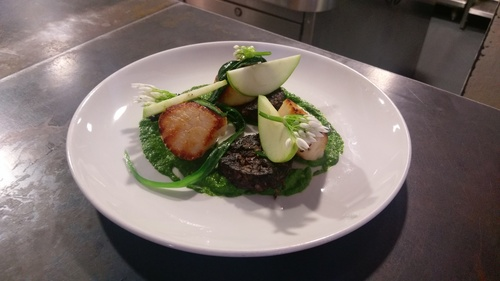 Scallops, wild garlic and morcilla