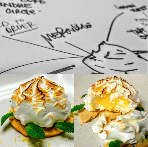 "Concept and reality. ""Lemon tart"" baked meringue filled with lemon curd, on a tart round."