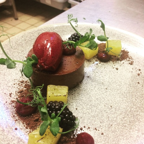 Chocolate torte/ pineapple/ blackberry