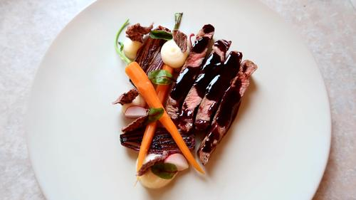 Black angus beef with vegetables, celery puree and wine sauce