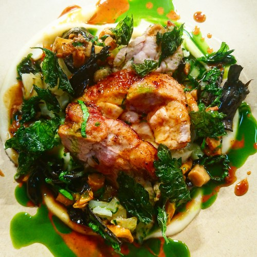 Calves sweetbread, Jerusalem artichoke, girolles and trompettes, hazelnut pesto, black truffle sauce and parsley
