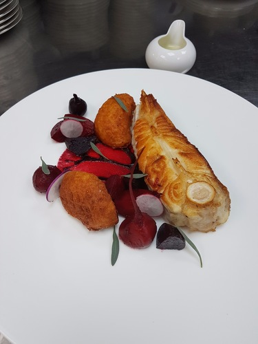 Roast cornish turbot, sweet potato dumpling, heritage beets, purslane butter