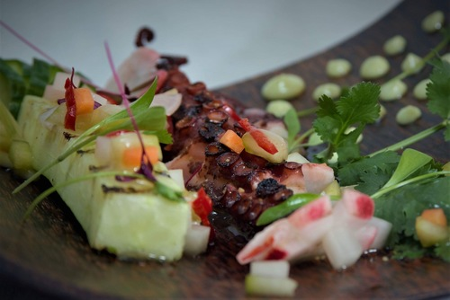 Char a grilled Octopus, Cucumber and Wasabi mayo with a Mirin Pickled Diakon Cucumber and Chilli.