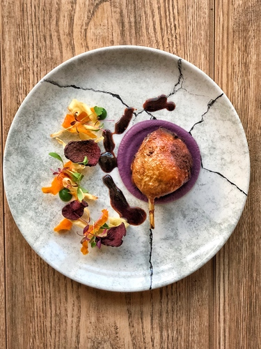 Confit Duck, Red Cabbage Purée, Vegetable Crisps