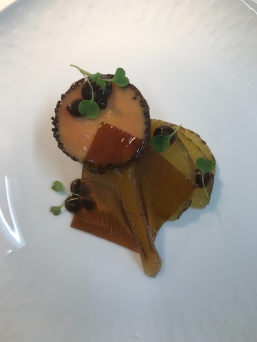 Foie grad, pineapple, prune, lapshang jelly