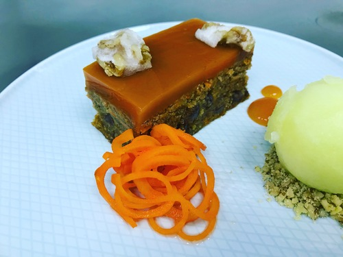 Vegan carrot cake • walnut • apple sorbet