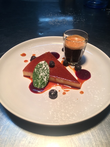 Creme renversee with berries coulis and double espresso