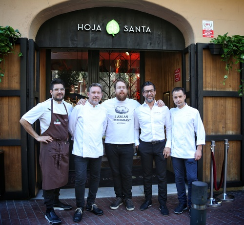 Photo in press release, left to right:  Paco Mendes, Hoja Santa,  Albert Adria, el Barri Jp McMahon, Food On The Edge Quique Dacosta, Quique Dacosta Eduard Xatruch, Disfrutar  Pictured outside Hoja Santa in Barcelona - the venue for the launch of Food On