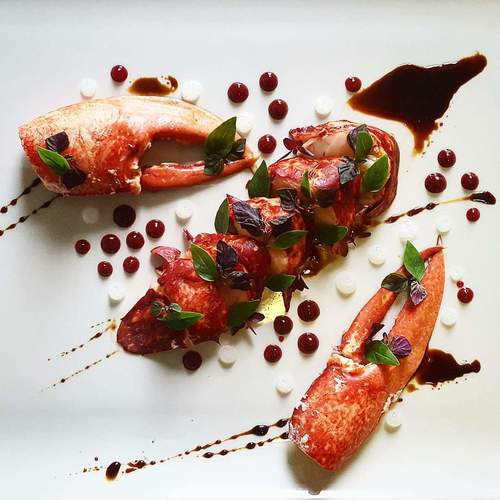 Asian twists.... sakè steamed lobster • daikon gel • honey soy reduction • lemon gel • shisho