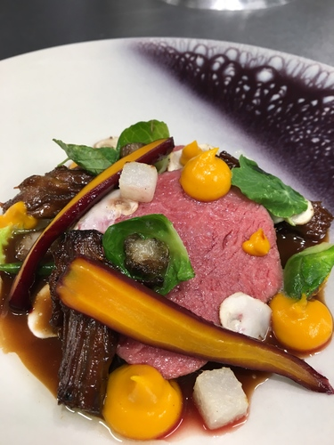 100 day aged sirloin - Miso glazed oxtail - Carrot purée - Bone marrow sprouts - Red wine poached carrots - Aniseed Sauce