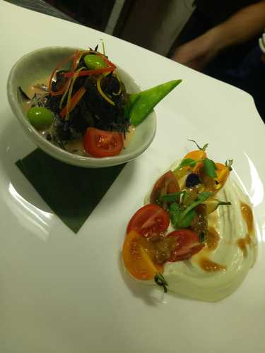 Let's try some Duos of creamy wasabi tofu and Delicious hijiki  salad tast from modern japanese cuicine..