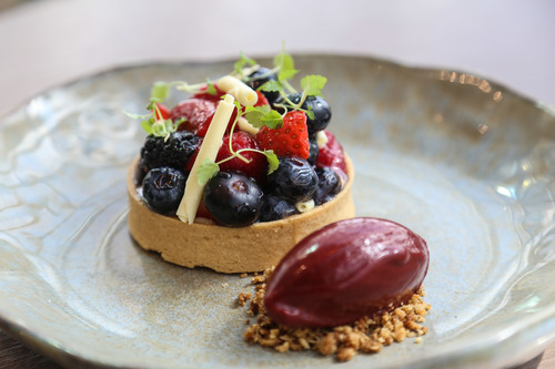Wild berry tart & blackberry sorbet, one of our favourite summer desserts from our beautiful restaurant Darwin Brasserie at Sky Garden