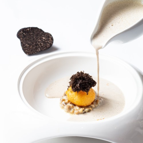 Part of my new a la carte menu  Mushroom soup / black winter truffle / crispy egg yolk   #finedining #grateplates #thebestchef #truecooks #thestaffcanteen #theartofplating #foodstarz_official #foodgasm #foodporn #michelin #michelinthailand #bangkokfoodies