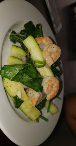 Just a simple Shrimp Sautè with Zuccini and fresh Spinach. Minced Garlic, Shallots, Lime Zest and juice.