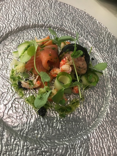 Smoked & gin baked salmon presse, nori, cured salmon, crayfish, pickled cucumber, spinach oil, romanesco, peashoots