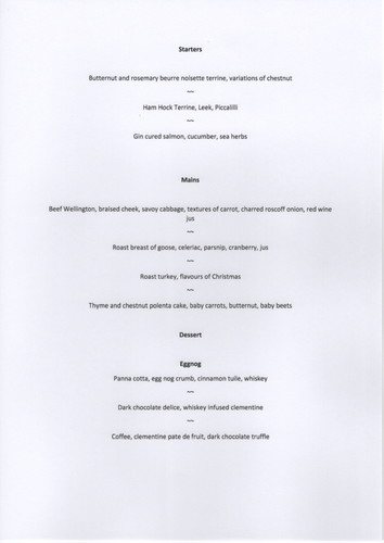 Draft menu for a small hotel for Christmas day