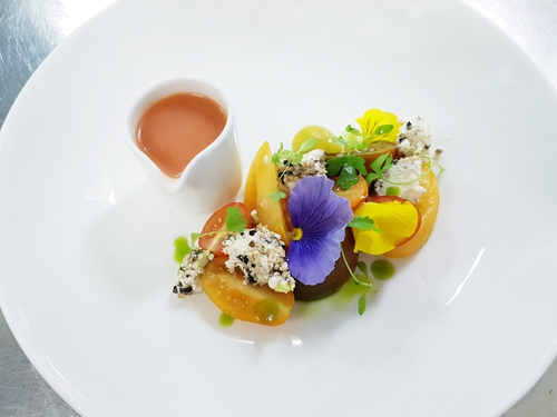 Heirloom tomato, black crowdie and gazpacho