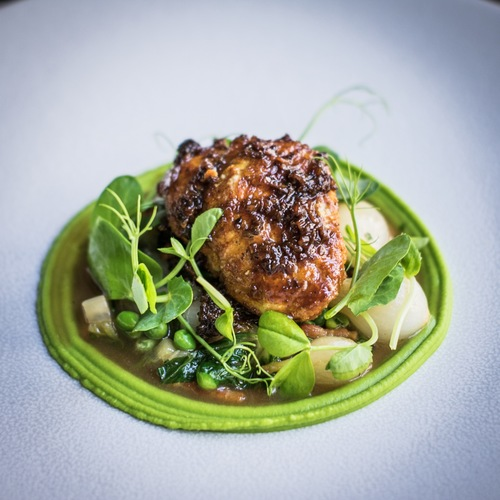 Veal sweetbreads, dusted in curry, petit pois a la francaise @rouxaps