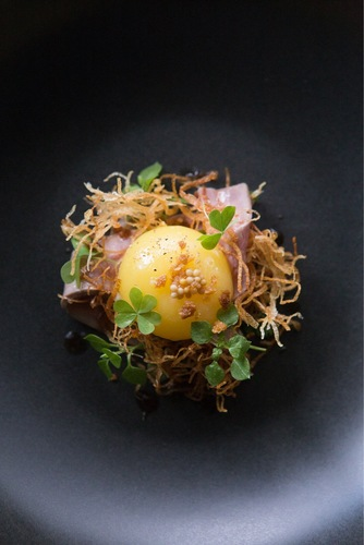 Duck egg | duck ham | duck liver parfait | potato | pickled mustard seeds | chickweed