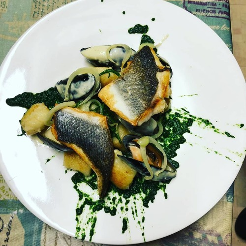 Pan fried sea bass, gnocchi, mussels, spinach, fennel veloute
