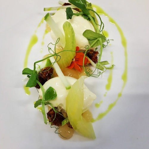 Goats cheese mousse, candied walnuts, compressed celery, apple, cider