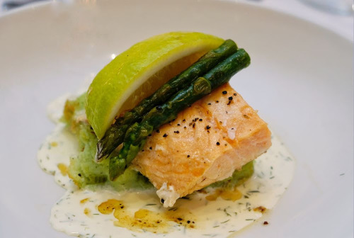 Seared Norwegian Salmon, Asparagus and Dill Potato Terrine, Lemon and Fennel Cream. Grilled Asparagus Spears.