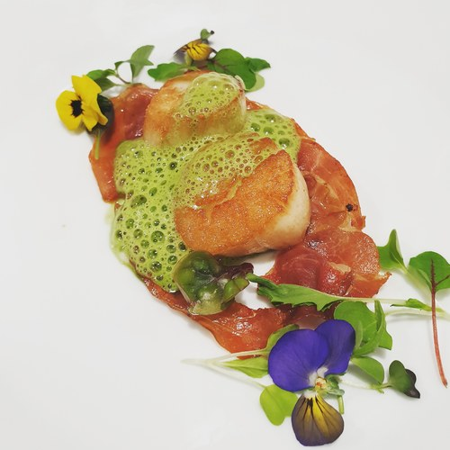 Pan fried  Scallops with Parma ham and parsley foam