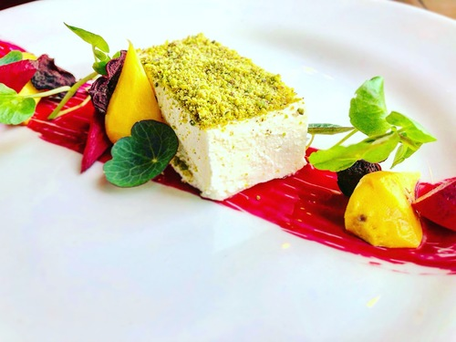 Goats cheese parfait, pickled beets and beetroot paint