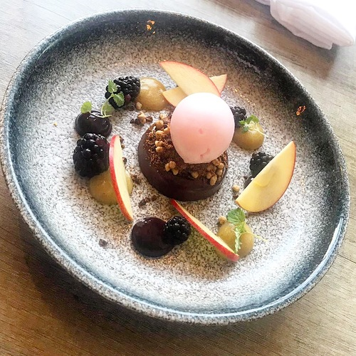 Blackberry ganache, apple purée, blackberries, pink apple, caramel crunch, pink apple sorbet