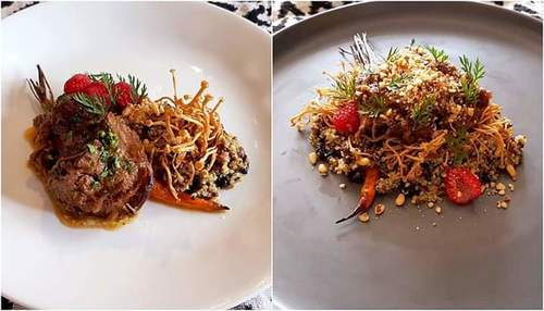 """Coastal lamb vs Forest Lamb"" - which plate do you perfer? :grin::grin::grin: - Braised lamb shoulder, served with roast baby carrot, fried enoki mushroom, trio quinoa salad fresh raspberry and assorted nuts. :v: Recipe at IG cookwithduke :grin::grin:"
