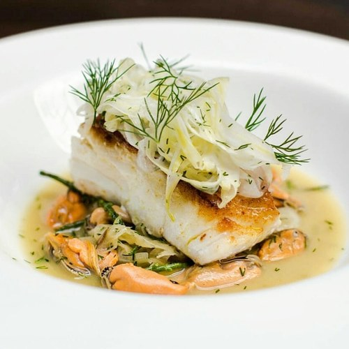 Cornish Cod, Fennel, Dill and Mussel Ragout, Picked Kohlrabi and Fennel Salad