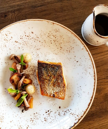 Wild Sea Bass, Wild Mushrooms, Earl Grey Apricots, Kohlrabi, Kombu Dashi