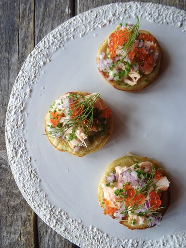 Blinies • Hot smoked salmon • Cloudberry Mayonnaise • Salmon roe • Onion • Chives • Dill.