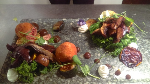 Smoked Mushrooms, burnt apple, courgette,  kale, yoghurt and sweet potato bon bons
