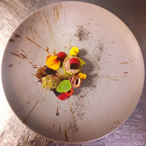 Confit duck, smoked duck breast, plum jel, leek ash and burnt plum