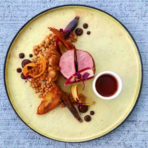 Berkshire tenderloin•mushroom couscous•carrot•parsnip gaufrette•black garlic/parsnip puree•cabernet/black garlic jus