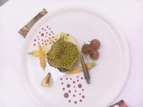 Chestnut crusted beef tenderloin with foie grass and beetroot puree