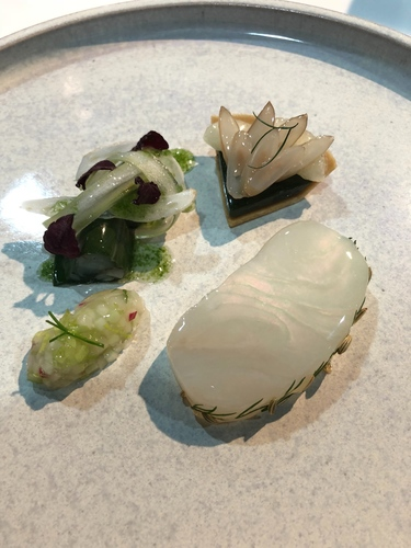 English National culinary team, cured halibut, razor clam tart, shiso, celery, fennel