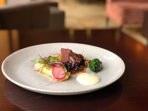 Wood Pigeon/Pomme Purée/Pickled Radish/Parsnip/Spinach/Blackberry Jus