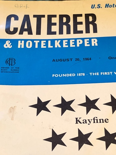 Tidying up my book shelf today ! Amongst many things this fell out ! Found in a disused oven at the back of a store room in a old hotel I worked at in 90,s !! 1964 caterer magazine!
