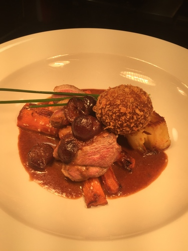 Seared Breast of Duck, Potato Terrine, Duck Bon Bon,Roasted Carrot, Black Cherry Jus