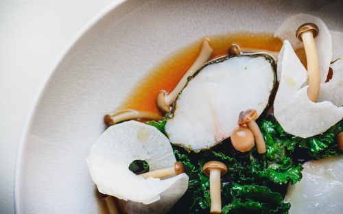 Monkfish, nitsuke, flower sprouts, daikon recipe by Bruce Rennie