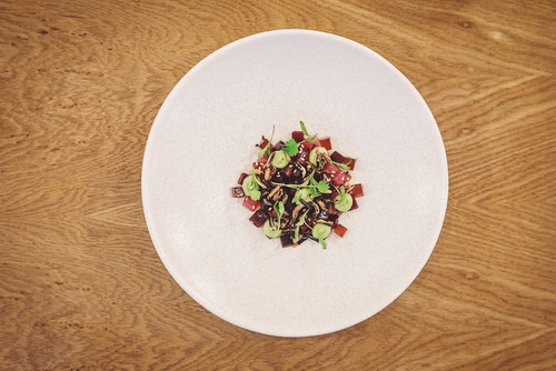 Tuna tartare, teriyaki, avocado and wasabi, coriander and puffed rice