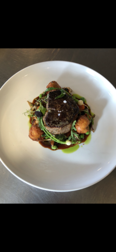 Beef tenderloin | spring vegetables | truffle blue cheese fritter
