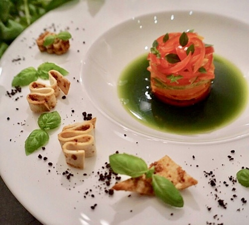 Tomato tartare, basil jelly, pancetta croutons & dehydrated black olives