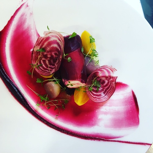 Crottin, beetroot, celery, button onions