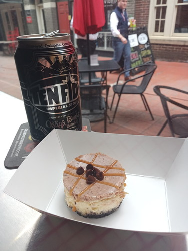 Day off, peanut butter dark chocolate and white truffle caramel cheesecake. Ten fidy imperial stout..sweets and stout!