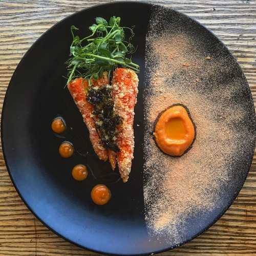 Roast fermented carrots with lovage, seaweed, and almond, carrot and orange purée, carrot and cardamon ketchup, carrot salt, carrot oil.