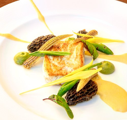 50 degree EVOO poached halibut, sauteed morels, snaps, chard baby corn and a sweetcorn veloute finished with fumet  IG@aboy_chef