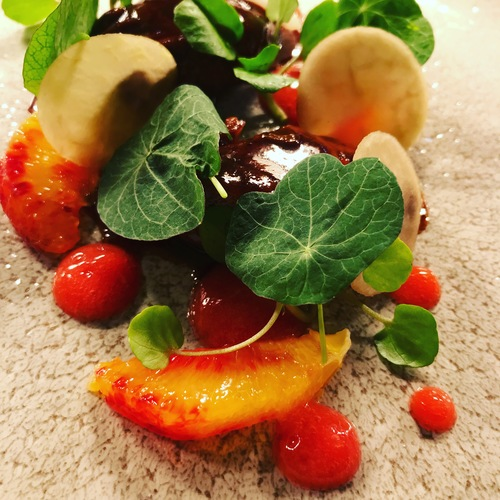 Glazed Pig Cheeks, Blood Orange, Pickled Kholrabi, Nasturtiums